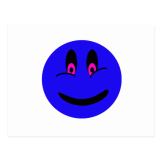 Blue Smiley Face Post Card