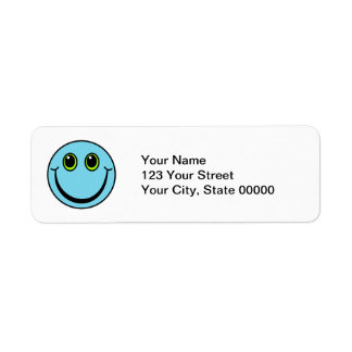 Blue Smiley Face Return Address Label
