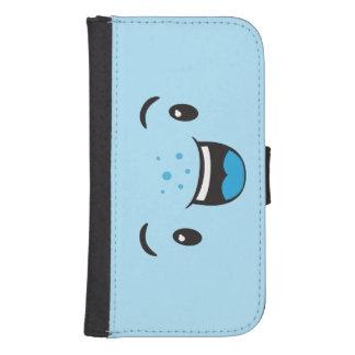 Blue Smiling Kawaii Face Samsung Wallet Case Galaxy S4 Wallets