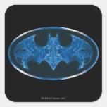 Blue Smoke Bat Symbol Square Sticker