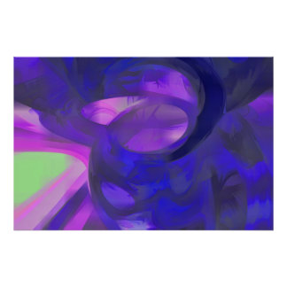 Blue Smoke Pastel Abstract Poster