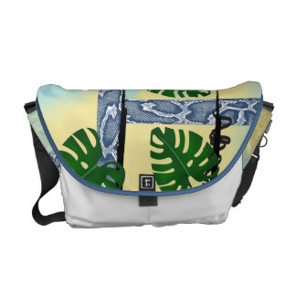 Blue Snakeskin Tropical Leaves Commuter Bags