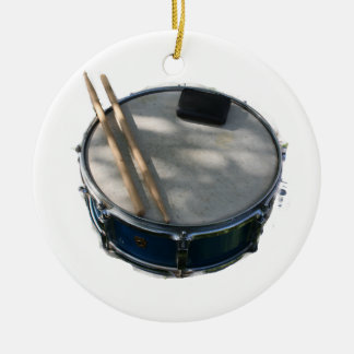 Blue Snare Drum Drumsticks and Muffler Ceramic Ornament