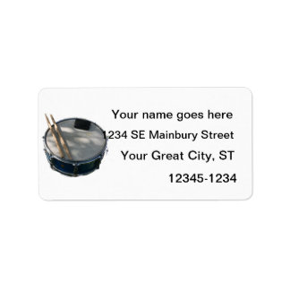 Blue Snare Drum Drumsticks and Muffler Custom Address Labels