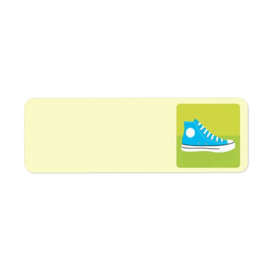 Blue Sneaker Return Address Label