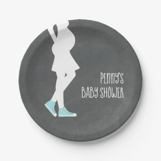Blue Sneakers Baby Bump Baby Shower Paper Plate