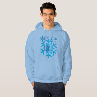 Blue Snow Flakes Men's Basic Hooded Sweatshirt