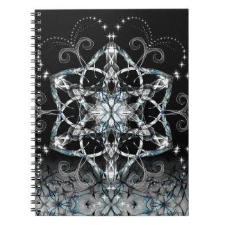 Blue Snow Flower Spiral Notebook