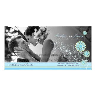 Blue Snow Flower Swirls Winter Wedding Thank You Photo Card Template
