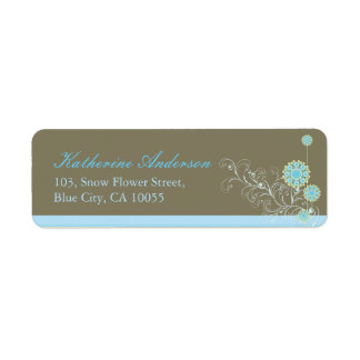 Blue Snow Flowers Swirls Wedding Address Labels