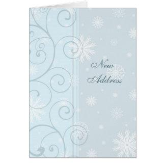 Blue Snow New Address Christmas Card