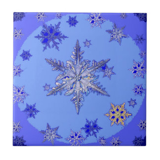 """""""BLUE SNOW ON SNOW"""" BLUE WINTER gifts Tile"""
