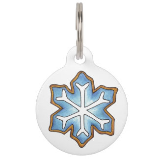 Blue Snow Snowflake Sugar Cookie Winter Dog Tag Pet ID Tags
