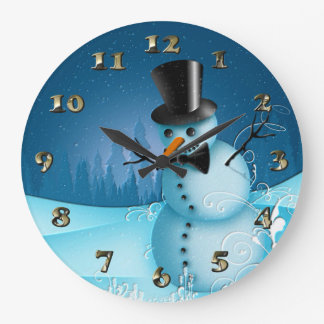 Blue Snow Snowman with Black Hat and Carrot Nose Large Clock