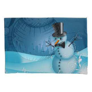 Blue Snow Snowman with Black Hat and Carrot Nose Pillowcase