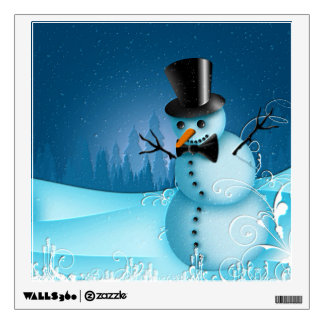 Blue Snow Snowman with Black Hat and Carrot Nose Wall Sticker