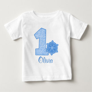 Blue Snowflake 1st Birthday Personalized Baby T-Shirt