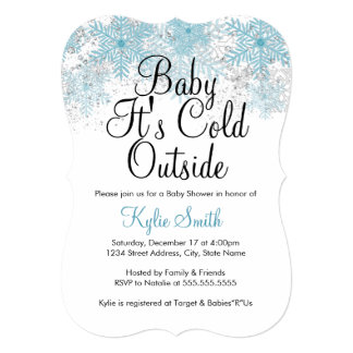 "Blue Snowflake Baby It's Cold Outside Baby Shower 5"" X 7"" Invitation Card"