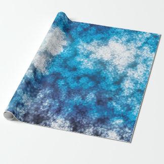 Blue Snowflake Bokeh Glitter Snow Wrapping Paper