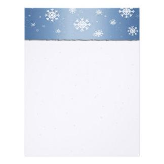 Blue Snowflake Border Letterhead