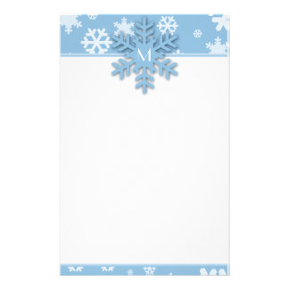 Blue Snowflake Border with Monogrammed Snowflake Stationery
