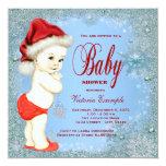 "Blue Snowflake Boys Christmas Baby Shower 5.25"" Square Invitation Card"