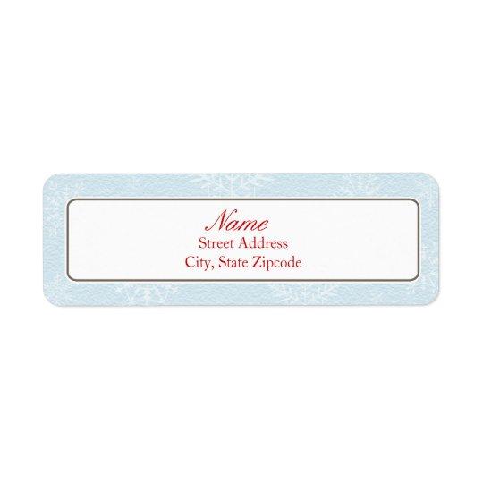 Blue Snowflake Christmas Address Label