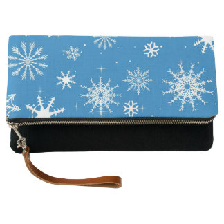 Blue Snowflake Christmas Design Clutch
