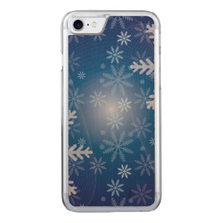 Blue Snowflake Christmas Pattern Carved iPhone 7 Case