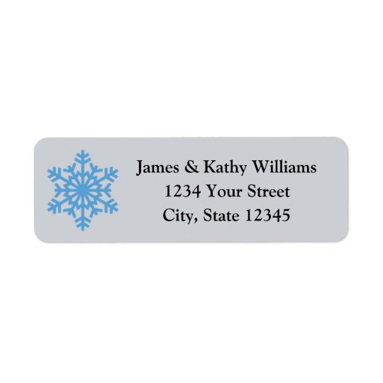 Blue Snowflake Christmas Return Address Labels