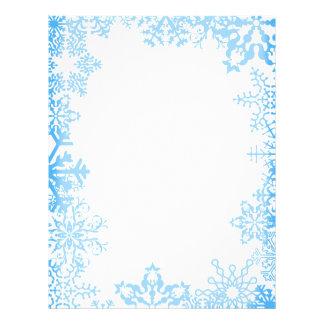 Blue Snowflake Christmas Stationary Letterhead