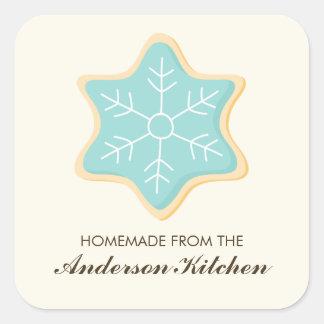 Blue Snowflake Cookie Square Sticker
