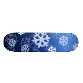Blue Snowflake Design Skateboard