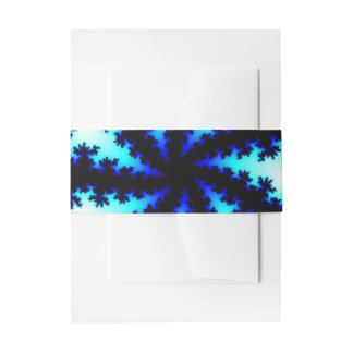 Blue Snowflake Fractal Belly Band Invitation Belly Band