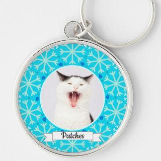 Blue Snowflake Frame Customizable Kitty Keychain