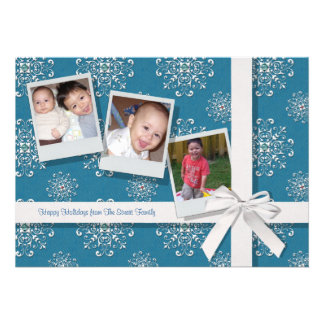 Blue Snowflake Gems Flat Holiday Card Personalized Announcement