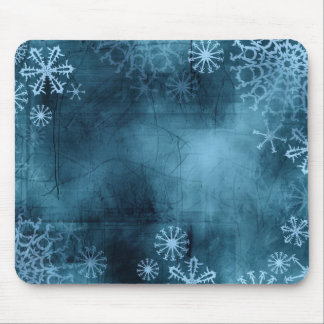 Blue Snowflake Grunge Mouse Pad