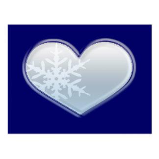 blue snowflake heart postcard