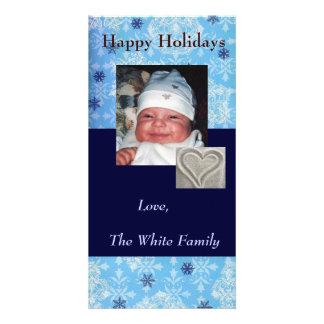 Blue Snowflake Holiday Photo Card