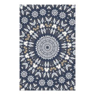 Blue Snowflake Kaleidoscope Stationery Design