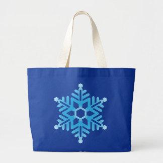 Blue Snowflake Large Tote Bag