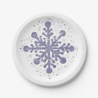 "Blue Snowflake ""Let it Snow"" Plate 7 Inch Paper Plate"