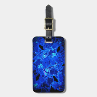 Blue Snowflake Luggage Tag w/ leather strap