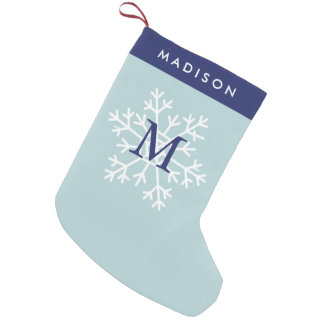 Blue Snowflake Monogrammed Small Christmas Stocking