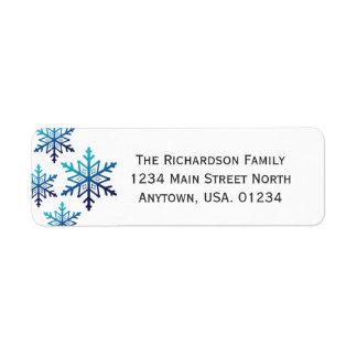 Blue Snowflake Noel Christmas Return Address Label