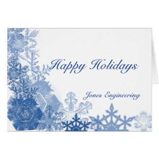 Blue Snowflake on White Card