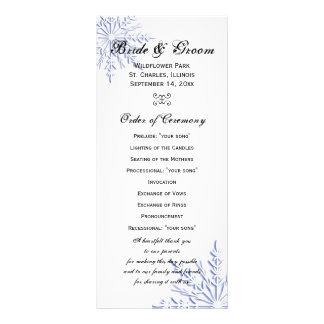 Blue Snowflake on White Winter Wedding Program