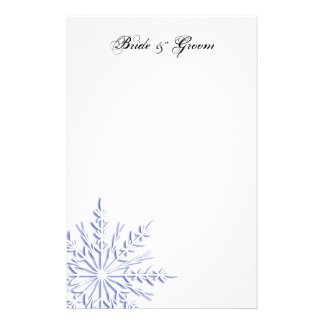 Blue Snowflake on White Winter Wedding Stationery Design
