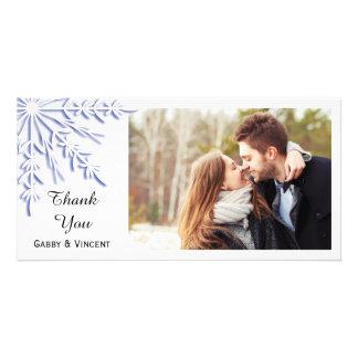 Blue Snowflake on White Winter Wedding Thank You Photo Greeting Card