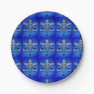 Blue Snowflake Ornament Paper Plate